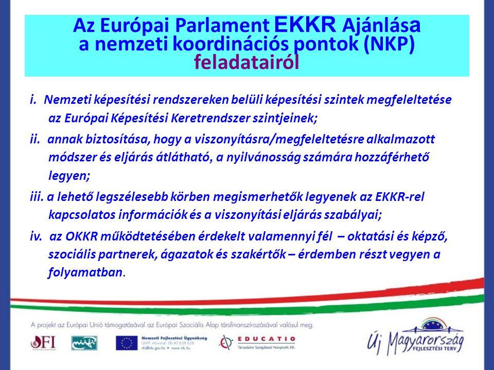 Az Európai Parlament EKKR Ajánlása a nemzeti koordinációs pontok (NKP) feladatairól