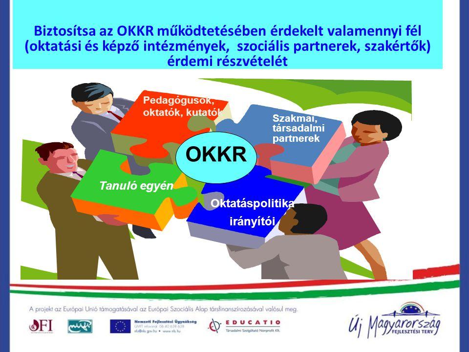 Biztosítsa az OKKR működtetésében érdekelt valamennyi fél (oktatási és képző intézmények, szociális partnerek, szakértők) érdemi részvételét