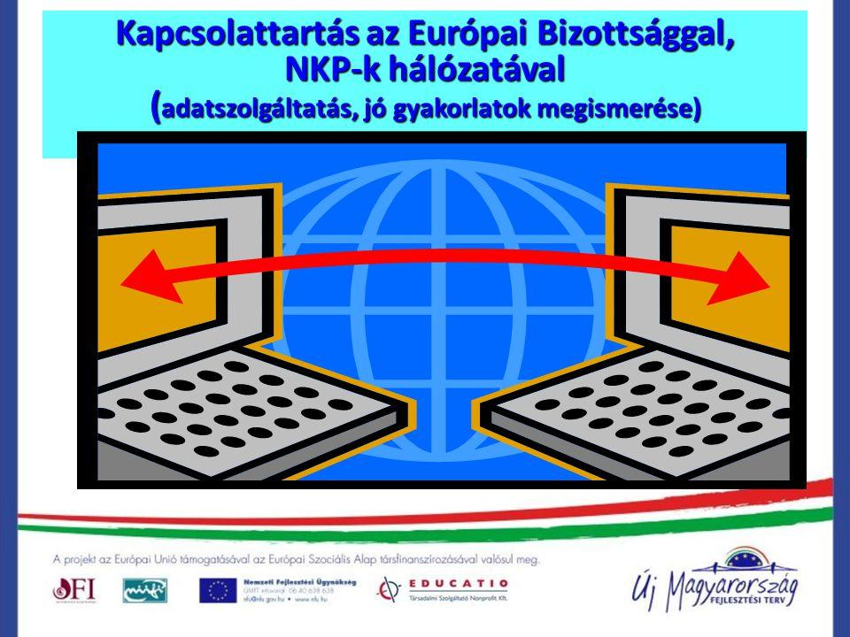 Kapcsolattartás az Európai Bizottsággal, NKP-k hálózatával (adatszolgáltatás, jó gyakorlatok megismerése)