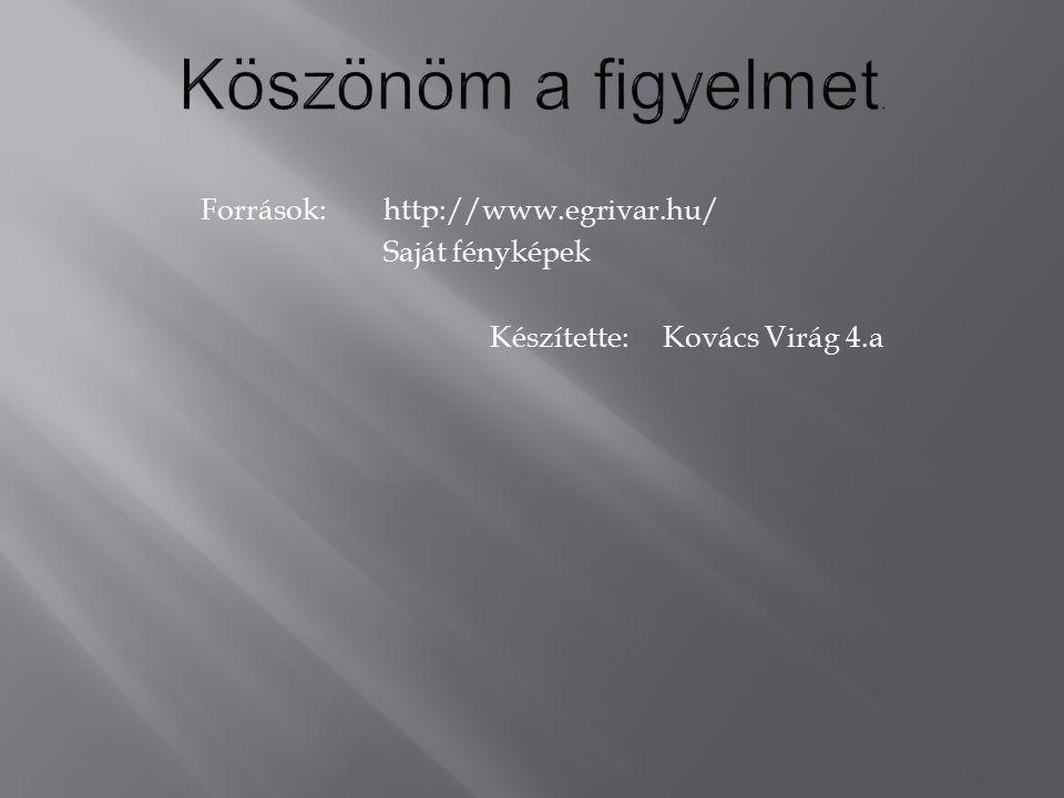 Köszönöm a figyelmet. Források: http://www.egrivar.hu/ Saját fényképek Készítette: Kovács Virág 4.a