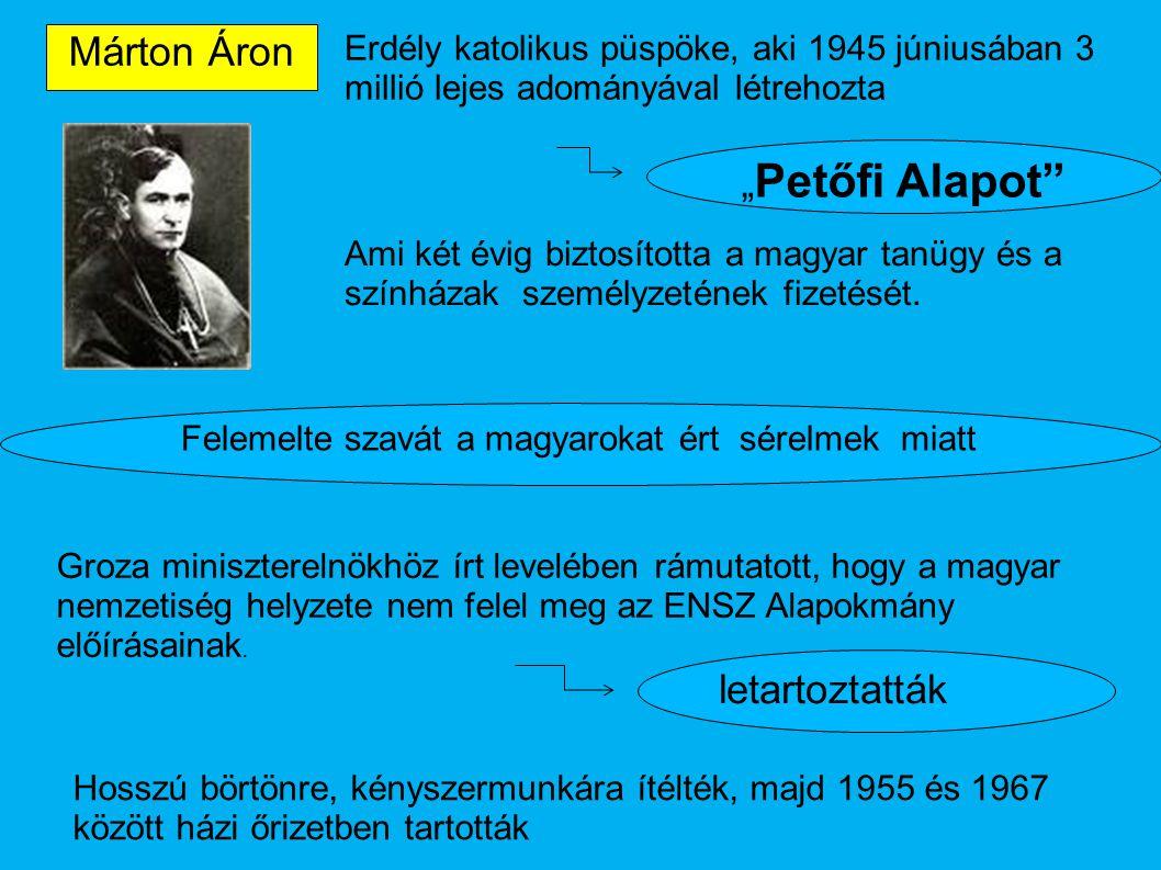 """Márton Áron """"Petőfi Alapot letartoztatták"""