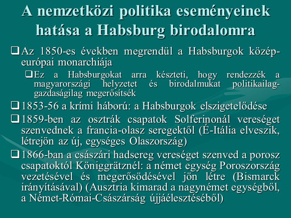 A nemzetközi politika eseményeinek hatása a Habsburg birodalomra