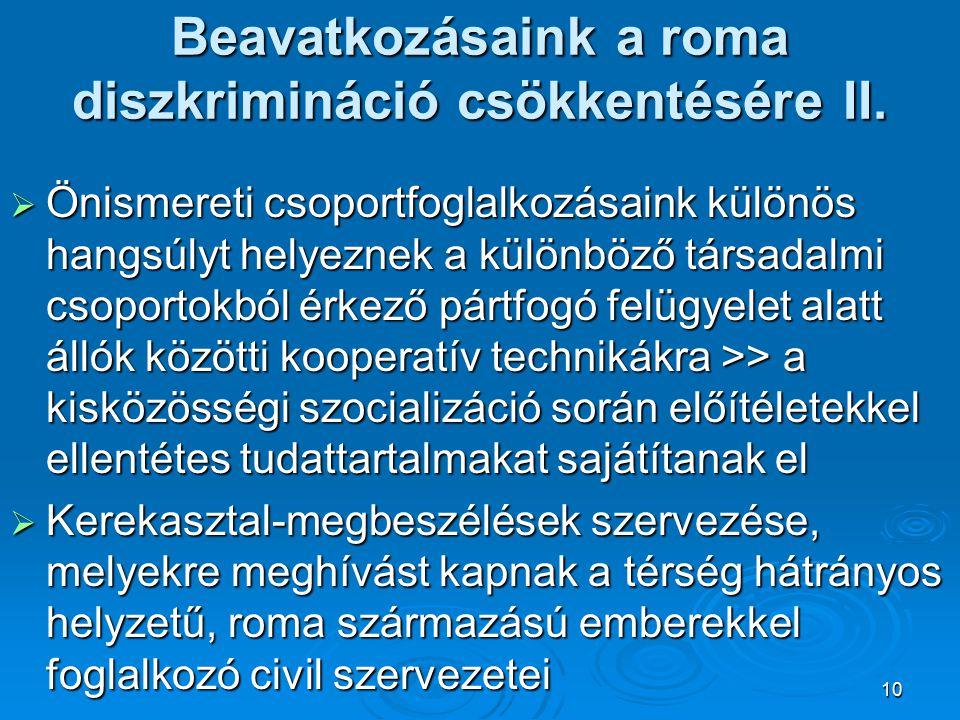 Beavatkozásaink a roma diszkrimináció csökkentésére II.