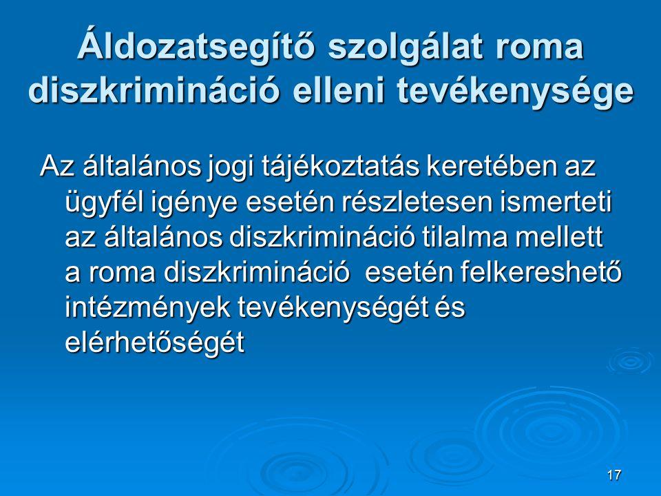 Áldozatsegítő szolgálat roma diszkrimináció elleni tevékenysége
