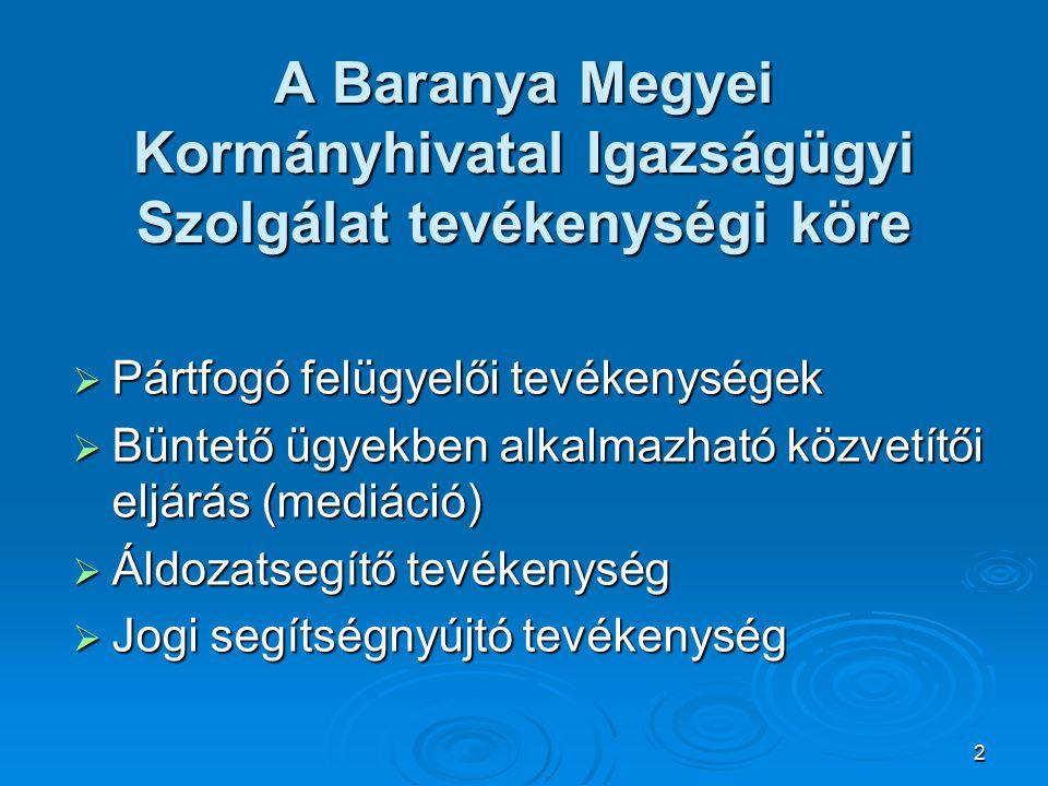 A Baranya Megyei Kormányhivatal Igazságügyi Szolgálat tevékenységi köre