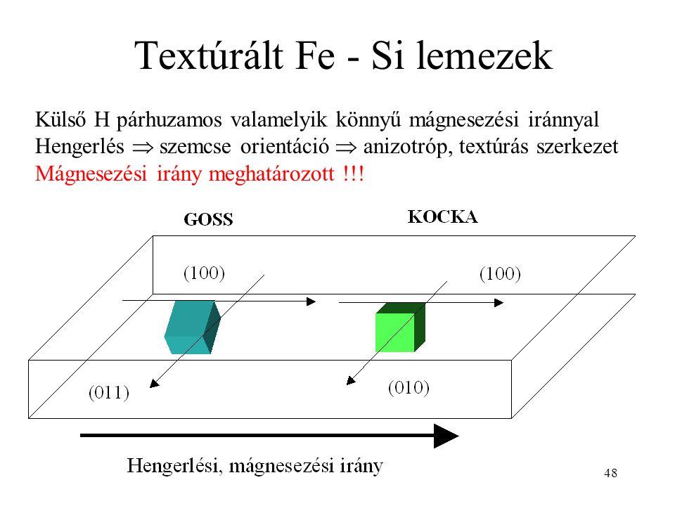 Textúrált Fe - Si lemezek