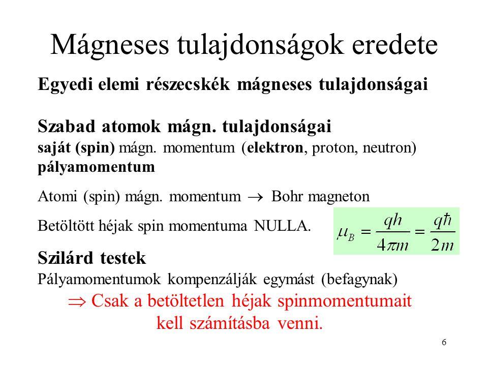 Mágneses tulajdonságok eredete