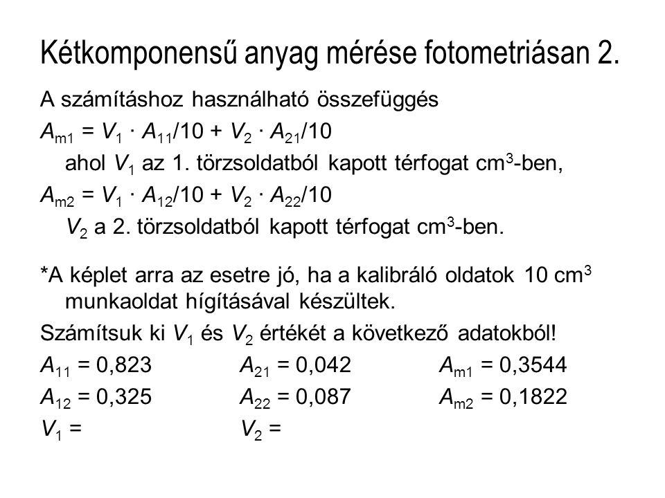 Kétkomponensű anyag mérése fotometriásan 2.
