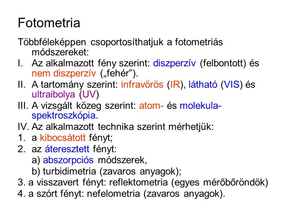 Fotometria Többféleképpen csoportosíthatjuk a fotometriás módszereket: