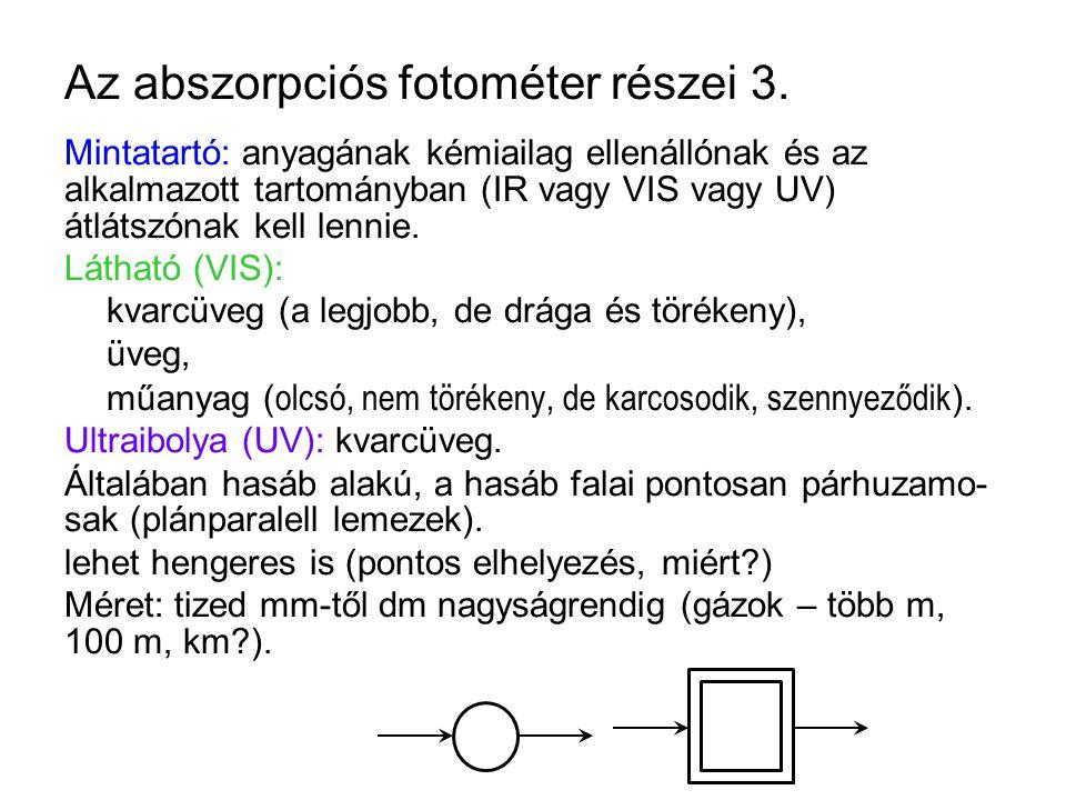 Az abszorpciós fotométer részei 3.