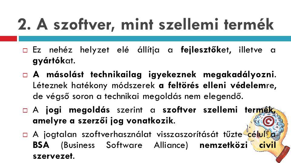 2. A szoftver, mint szellemi termék