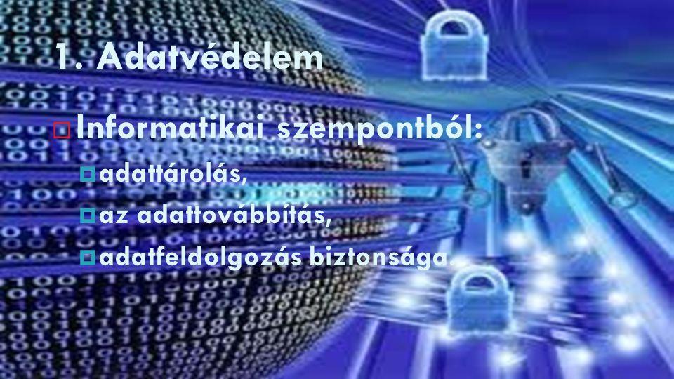 1. Adatvédelem Informatikai szempontból: adattárolás,