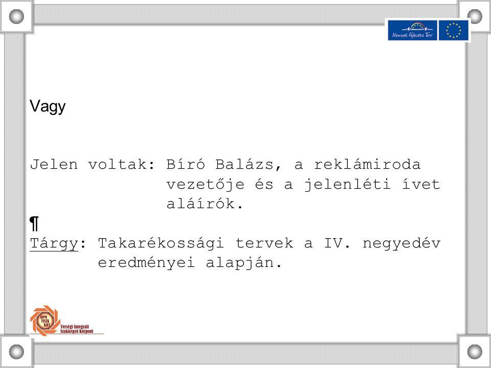Vagy Jelen voltak: Bíró Balázs, a reklámiroda vezetője és a jelenléti ívet aláírók.