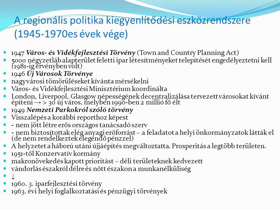 A regionális politika kiegyenlítődési eszközrendszere (1945-1970es évek vége)