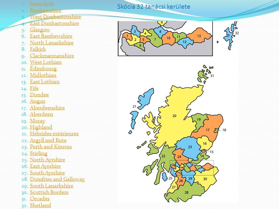 Skócia 32 tanácsi kerülete