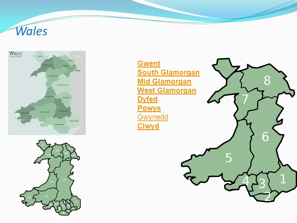Wales Gwent South Glamorgan Mid Glamorgan West Glamorgan Dyfed Powys
