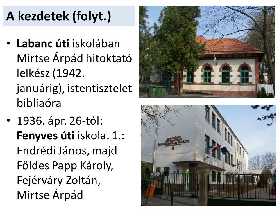 A kezdetek (folyt.) Labanc úti iskolában Mirtse Árpád hitoktató lelkész (1942. januárig), istentisztelet bibliaóra.