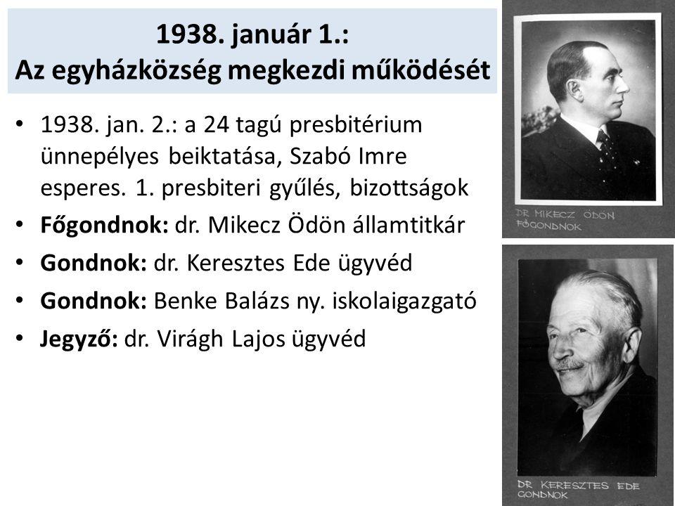 1938. január 1.: Az egyházközség megkezdi működését