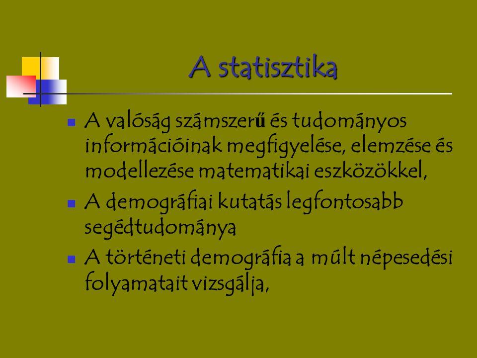A statisztika A valóság számszerű és tudományos információinak megfigyelése, elemzése és modellezése matematikai eszközökkel,