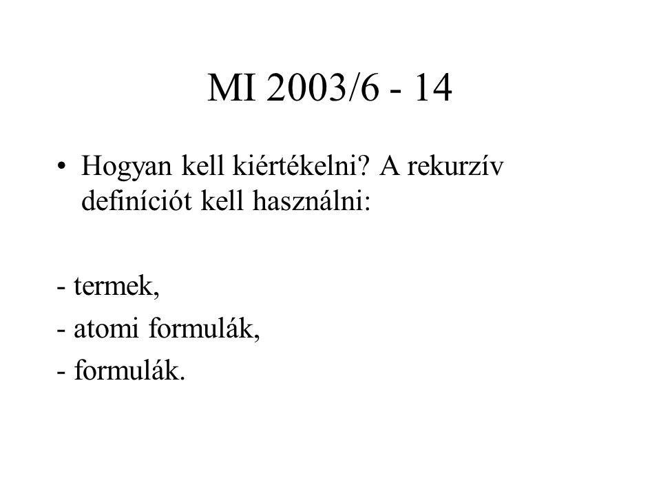 MI 2003/6 - 14 Hogyan kell kiértékelni A rekurzív definíciót kell használni: - termek, - atomi formulák,