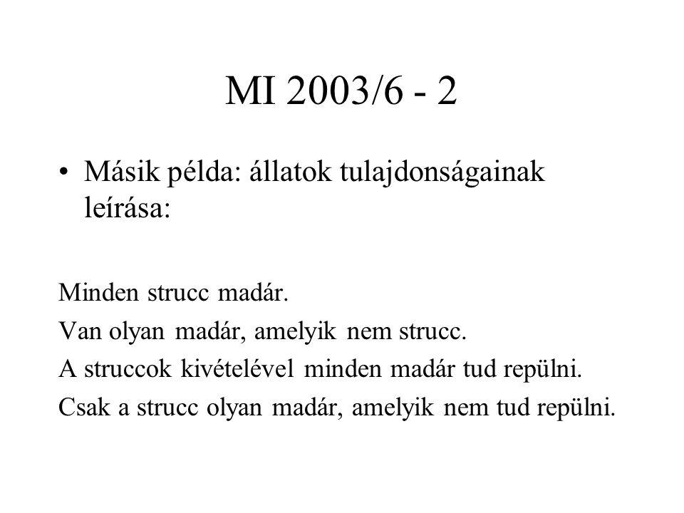 MI 2003/6 - 2 Másik példa: állatok tulajdonságainak leírása: