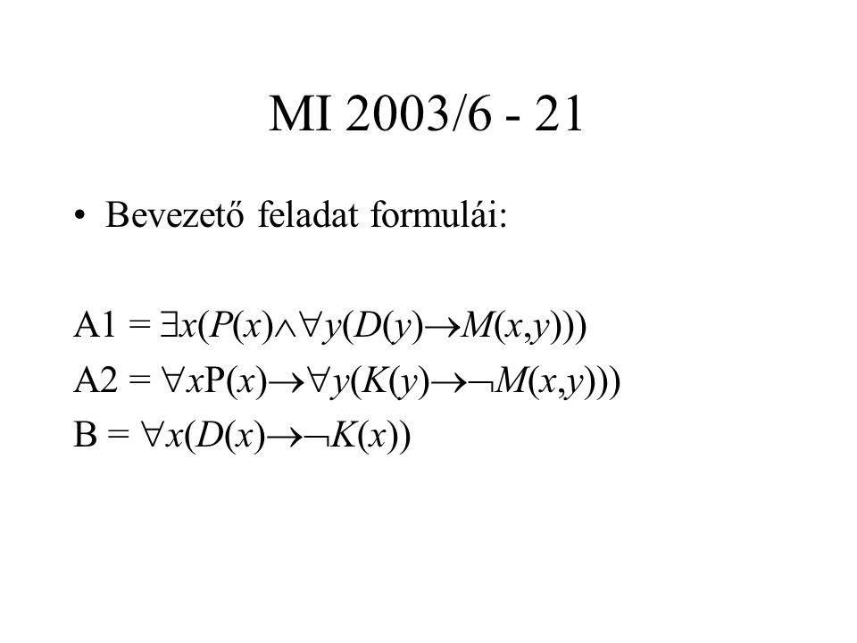 MI 2003/6 - 21 Bevezető feladat formulái: