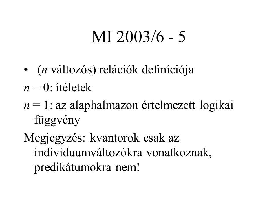 MI 2003/6 - 5 (n változós) relációk definíciója n = 0: ítéletek