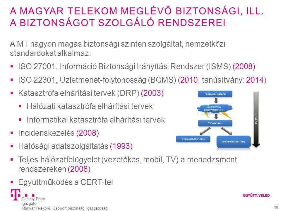 A magyar Telekom meglévő biztonsági, ill