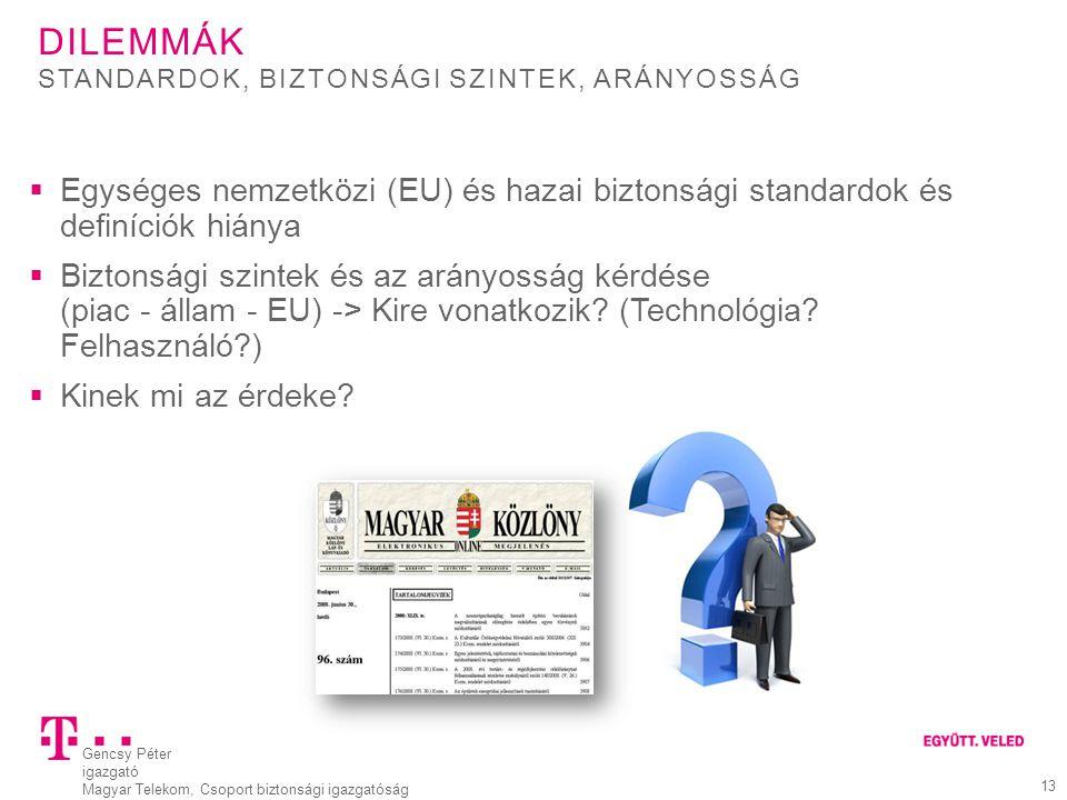 Dilemmák Standardok, biztonsági szintek, arányosság. Egységes nemzetközi (EU) és hazai biztonsági standardok és definíciók hiánya.