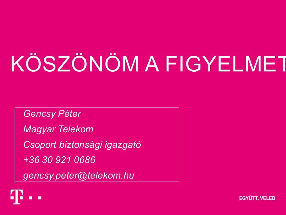Csoport biztonsági igazgató +36 30 921 0686 gencsy.peter@telekom.hu