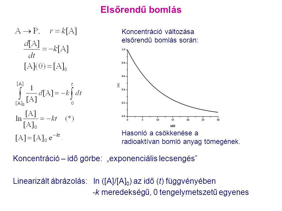 """Elsőrendű bomlás Koncentráció – idő görbe: """"exponenciális lecsengés"""