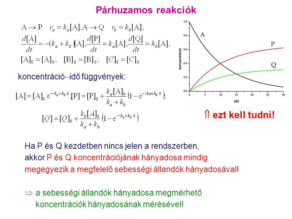 Párhuzamos reakciók  ezt kell tudni! koncentrációidő függvények: