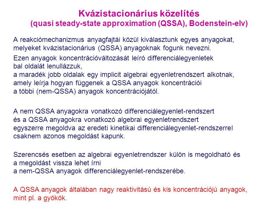 Kvázistacionárius közelítés (quasi steady-state approximation (QSSA), Bodenstein-elv)