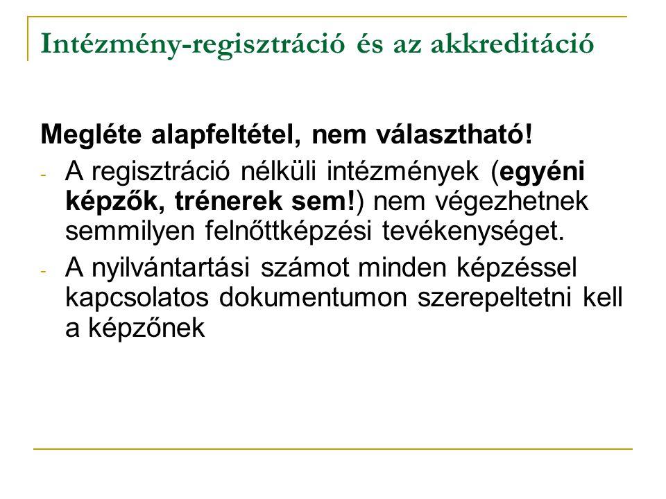 Intézmény-regisztráció és az akkreditáció