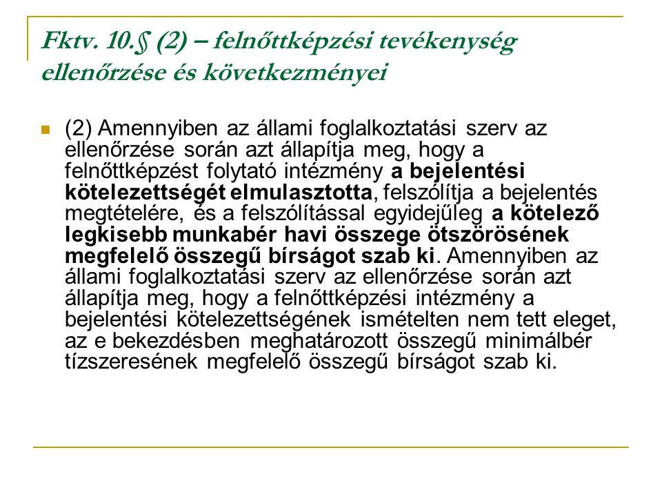 Fktv. 10.§ (2) – felnőttképzési tevékenység ellenőrzése és következményei