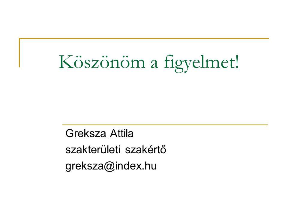 Greksza Attila szakterületi szakértő greksza@index.hu