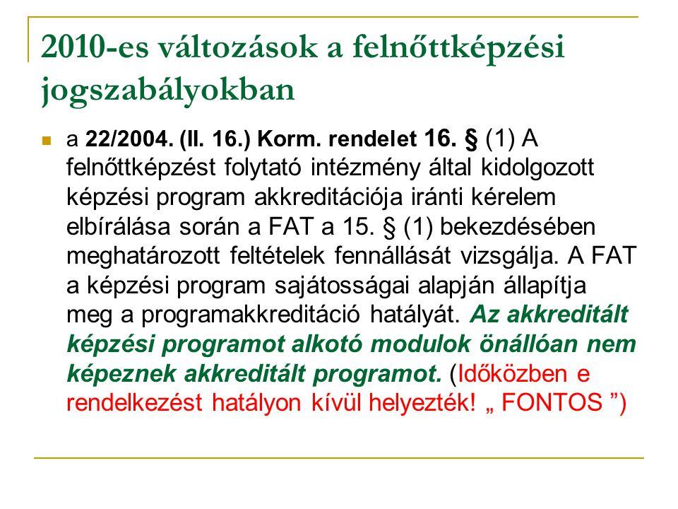 2010-es változások a felnőttképzési jogszabályokban