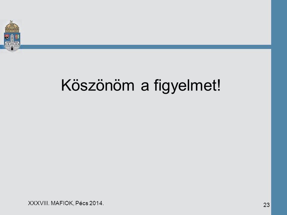 Köszönöm a figyelmet! XXXVIII. MAFIOK, Pécs 2014.