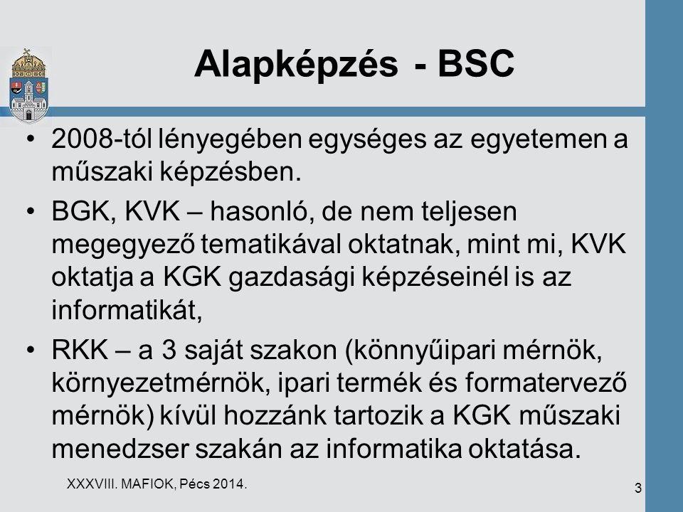 Alapképzés - BSC 2008-tól lényegében egységes az egyetemen a műszaki képzésben.