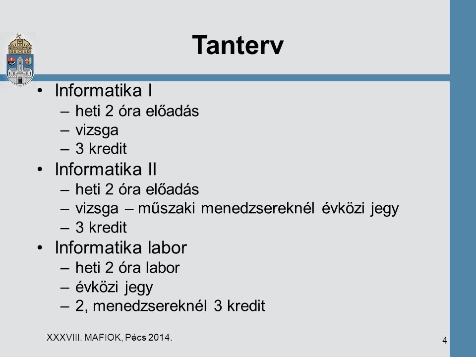 Tanterv Informatika I Informatika II Informatika labor