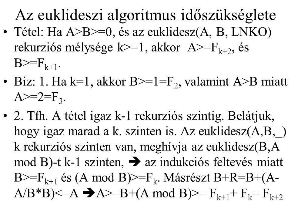 Az euklideszi algoritmus időszükséglete