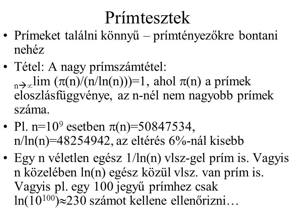 Prímtesztek Prímeket találni könnyű – prímtényezőkre bontani nehéz
