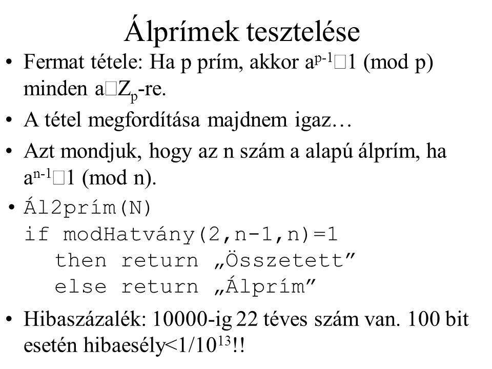 Álprímek tesztelése Fermat tétele: Ha p prím, akkor ap-1º1 (mod p) minden aÎZp-re. A tétel megfordítása majdnem igaz…
