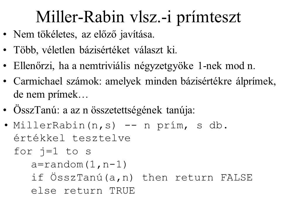 Miller-Rabin vlsz.-i prímteszt