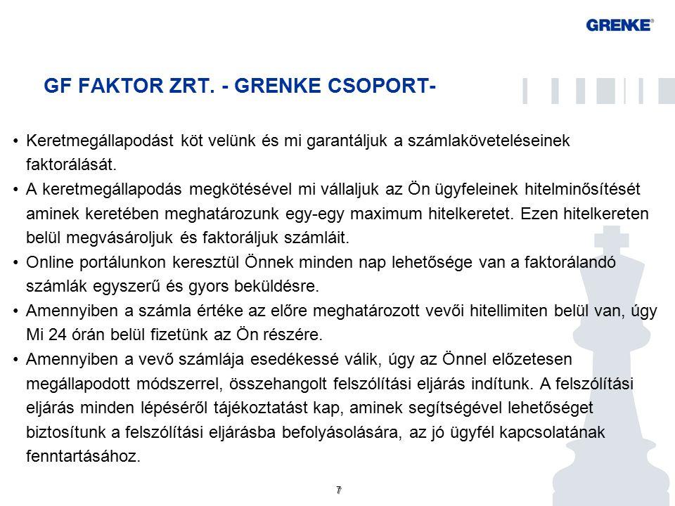 GF FAKTOR ZRT - GRENKE CSOPORT Faktoring főbb jellemzői