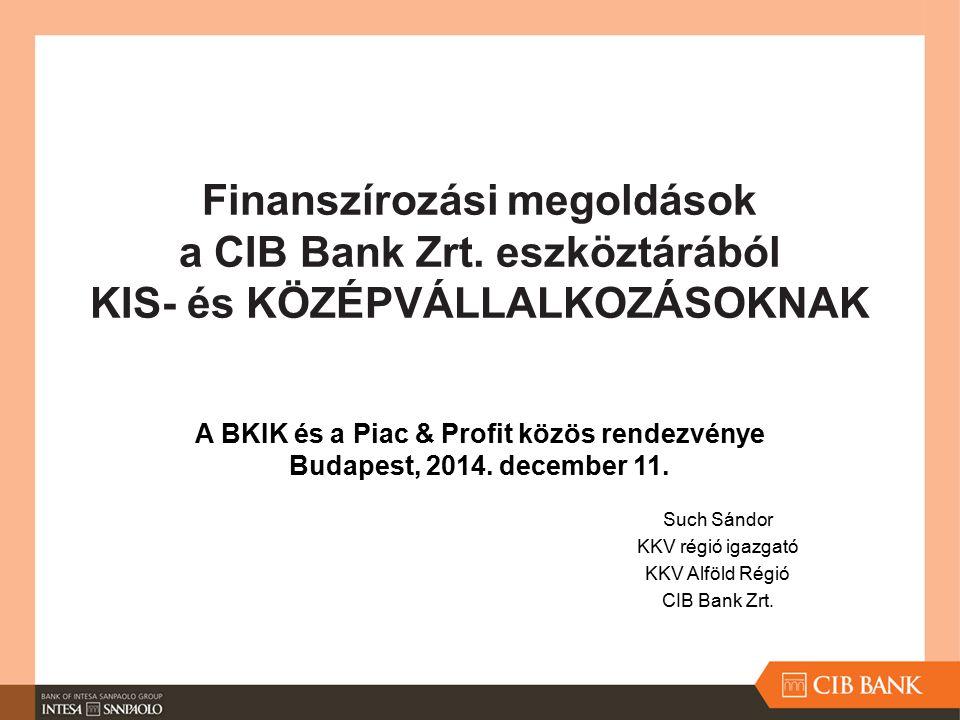Such Sándor KKV régió igazgató KKV Alföld Régió CIB Bank Zrt.