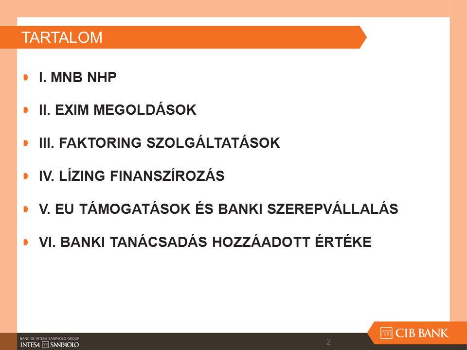 TARTALOM I. MNB NHP II. EXIM MEGOLDÁSOK III. FAKTORING SZOLGÁLTATÁSOK
