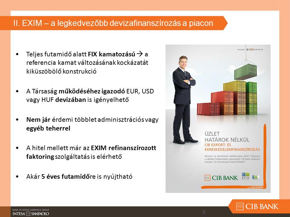 II. EXIM – a legkedvezőbb devizafinanszírozás a piacon