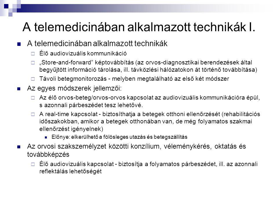 A telemedicinában alkalmazott technikák I.