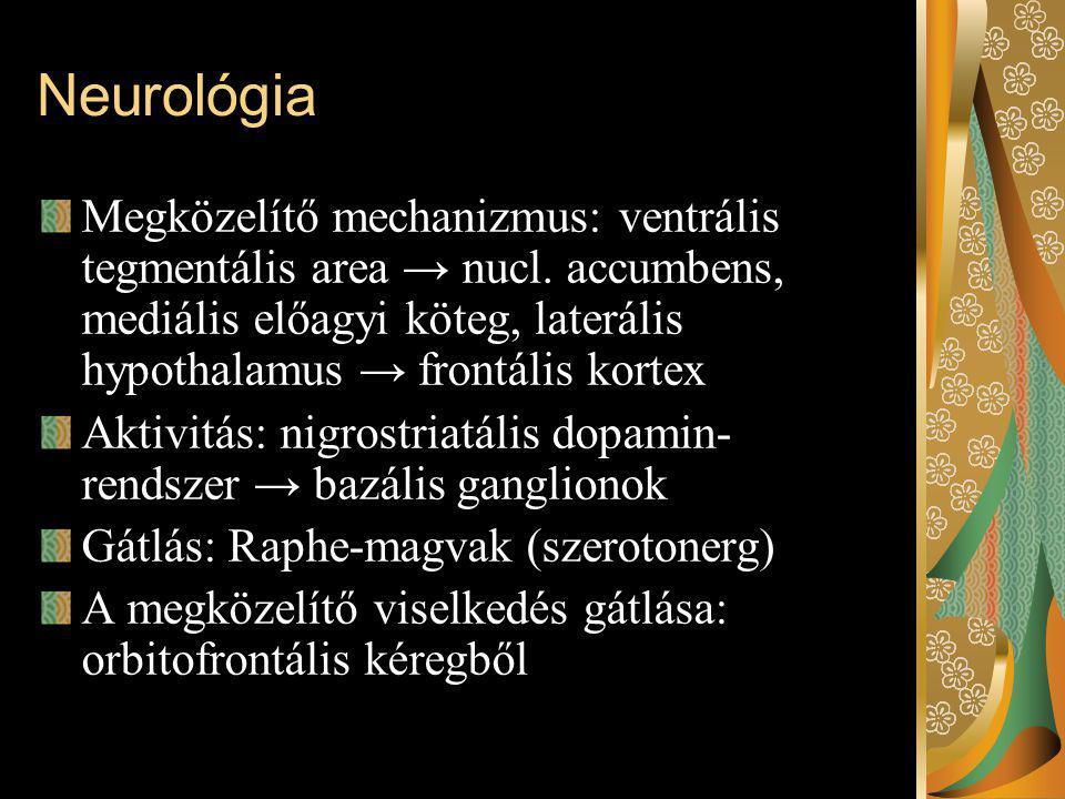 Neurológia Megközelítő mechanizmus: ventrális tegmentális area → nucl. accumbens, mediális előagyi köteg, laterális hypothalamus → frontális kortex.